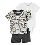 "carter's® Newborn 3-Piece ""I Dig Mommy"" Bodysuit, Shirt and Shorts Set in Grey"