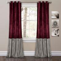 Prima Velvet Color Block Room Darkening Window Curtain Panel Pair in Plum