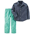 carter's® Newborn 2-Piece Chambray Shirt and Canvas Pant Set in Denim/Green