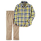 carter's® Size 6M 2-Piece Plaid Shirt and Khaki Woven Pant Set in Yellow