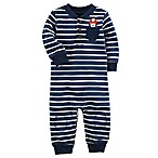 carter's® Size 6M Striped Dog Romper with Pocket in Navy/White