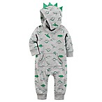 carter's® Size 9M Dinosaur Spike Hooded Jumpsuit in Grey