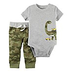 carter's® Size 12M 2-Piece Dinosaur Short-Sleeve Bodysuit and Pant Set in Grey/Camo
