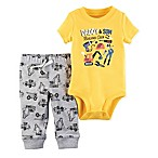 carter's® Size 3M 2-Piece  Daddy & Son Building Crew  Bodysuit and Pant Set in Yellow/Grey