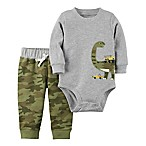 carter's® Size 3M 2-Piece Dinosaur Long-Sleeve Bodysuit and Pant Set in Grey/Camo