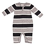 Cuddl Duds® Newborn Stripe Henley Coverall in Black/Grey