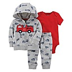 carter's® Newborn 3-Piece Fire Truck Little Jacket, Bodysuit, and Pant Set in Grey