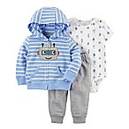 carter's® Size 3M 3-Piece Stripe Robot Hoodie, Bodysuit, and Pant Set in Blue