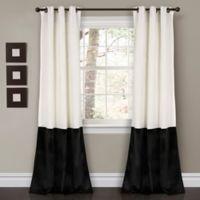 Prima Velvet Color Block Room Darkening Window Curtain Panel Pair in Black