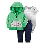 carter's® Size 3M 3-Piece Dino Face Hoodie, Bodysuit, and Pant Set in Green