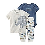 carter's® Newborn 3-Piece Hello World Animal Shirt, Bodysuit, and Pant Set