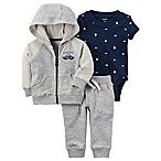 carter's® Size 12M 3-Piece Handsome Hoodie, Bodysuit, and Pant Set in Grey