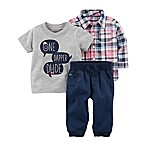 carter's® Size 3M 3-Piece Dapper Dude Plaid Shirt, T-Shirt, and Pant Set in Navy