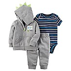 carter's® Size 3M 3-Piece Awesome Dude Hoodie, Bodysuit, and Pant Set in Grey