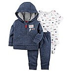 "carter's® Newborn 3-Piece ""Super Cute"" Hoodie, Bodysuit and Jogger Set in Navy Heather"
