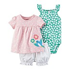 carter's® Size 3M 3-Piece Polka Dot Top, Floral Bodysuit and Diaper Cover Set