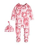 Burt's Bees Baby® Size 6M Long Sleeve Splatter Print Wrap Coverall and Hat Set in Coral