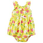 carter's® Size 6M Floral Print Bodysuit Dress in Yellow