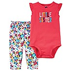 carter's® Size 3M 2-Piece  Little Sister  Bodysuit and Floral Pant Set in Red