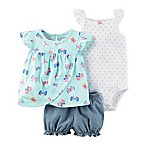 carter's® Size 3M 3-Piece Butterfly Top, Polka Dot Bodysuit and Diaper Cover Set