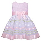 Bonnie Baby Size 12M Floral Bodice Ribbon Dress in Pink
