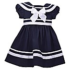 Bonnie Baby Size 2T Short Sleeve Nautical Dress in Navy
