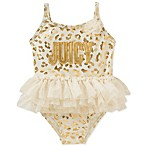 Juicy Couture® Size 6-9M Animal Print Swimsuit in Gold
