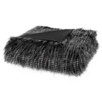 Madison Park Edina Long Faux Fur Throw Blanket in Black