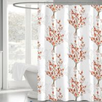 Brielle 72-Inch x 72-Inch Fabric Shower Curtain in White/Orange