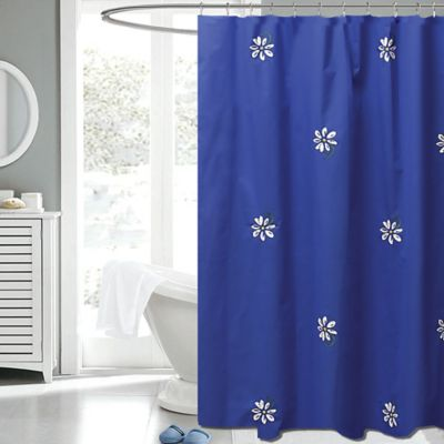 white and navy shower curtain. Gerber Daisy 72 Inch X Fabric Shower Curtain In Navy White Buy Curtains From Bed Bath  Beyond