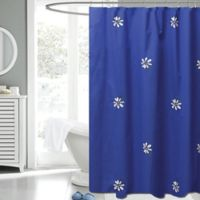 Gerber Daisy 72-Inch x 72-Inch Fabric Shower Curtain in Navy/White