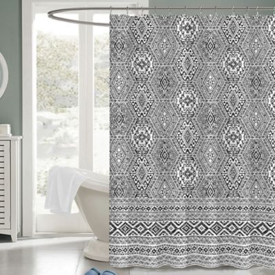 Medina 72 Inch X Fabric Shower Curtain In Black White