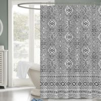 Medina 72-Inch x 72-Inch Fabric Shower Curtain in Black/White