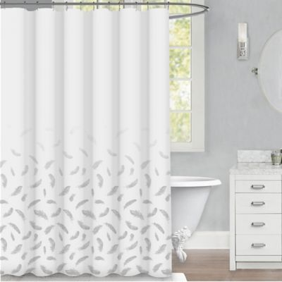 white and silver shower curtain. Feather 72 Inch x Shower Curtain in Silver Buy White  from Bed Bath Beyond