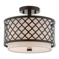 Livex Lighting® Arabesque 2-Light 11.88-Inch Semi-Flush Mount Ceiling Fixture in English Bronze