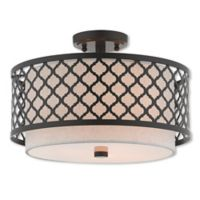 Livex Lighting® Arabesque 3-Light 15.25-Inch Semi-Flush Mount Ceiling Fixture in English Bronze