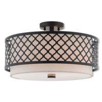 Livex Lighting® Arabesque 3-Light 18.13-Inch Semi-Flush Mount Ceiling Fixture in Bronze