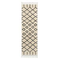 Nourison Morrocan Grid Shag 2'2 x 8'1 Woven Runnner in Cream
