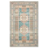 "Nourison Madera 6'6"" x 9'6"" Woven Area Rug in Teal Green"