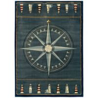 United Weavers Compass Rose 5'3 x 7'6 Area Rug in Smoke Blue