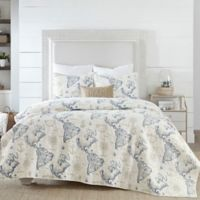 Coastal Living Coastal Map Full/Queen Quilt Set in Blue/White
