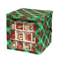 Honey-Can-Do® 48-Count Plaid Ornament Storage Container in Red/Green