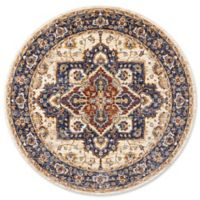 Nourison Reseda Medallion 5' Round Woven Area Rug in Cream