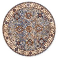 Nourison Reseda Floral 5' Round Area Rug in Sky
