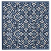 "Nourison Caribbean Medallion 5'3"" Indoor/Outdoor Square Area Rug in Navy"