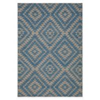 Chandra Rugs Winnie Geometric Diamond 5' x 7'6 Handcrafted Area Rug in Blue/Silver
