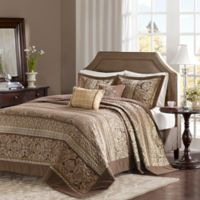 Madison Park Bellagio Jacquard Queen Bedspread Set in Brown