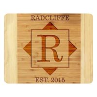 Stamp Out Square and Initial 11-Inch x 14-Inch Bamboo Cutting Board