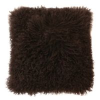 Thro Mongolian Fur Square Throw Pillow with Faux Suede Back in Walnut