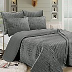 Brielle Velvet King Quilt Set in Grey